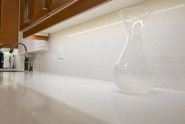 Caesarstone Frosty Carrina countertop and backsplash